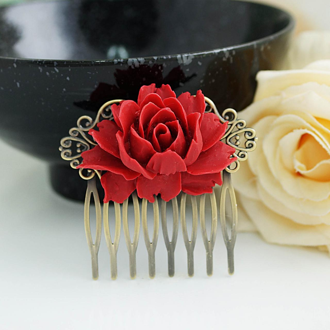 Wedding hair accessories, bridal hair accessories, bridal hair comb, Vintage Style deep Red Rose Hair comb, bridesmaid gift