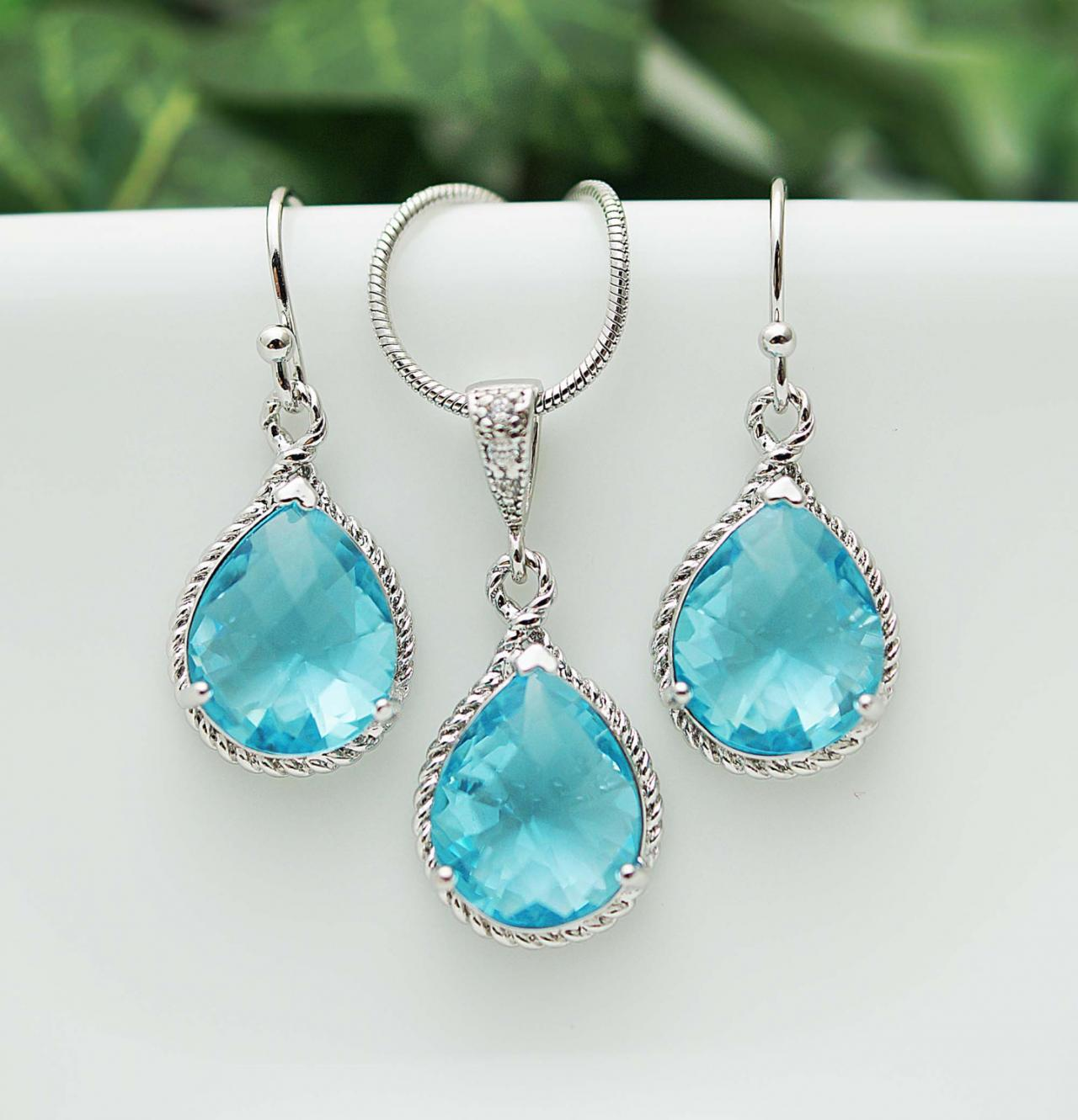 Wedding Jewelry Bridesmaid Jewelry Bridesmaid Earrings Bridesmaid Necklace Aquamarine Glass Rhodium Trimmed Pear Cut Bridesmaid gift
