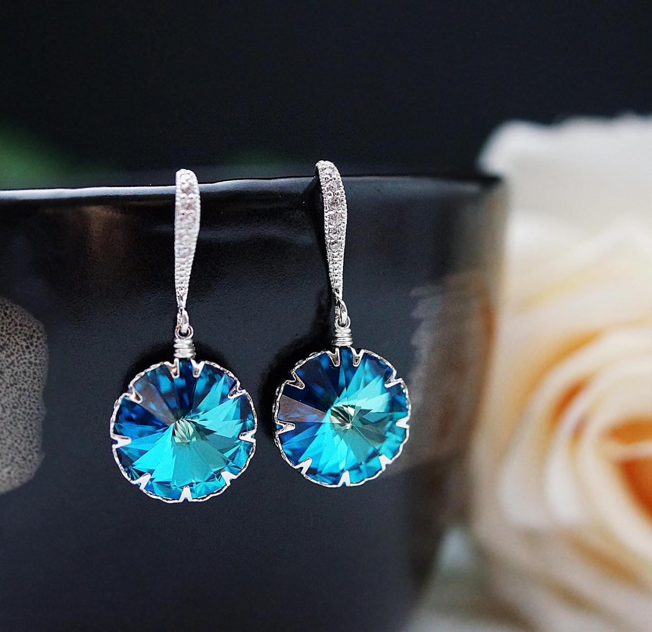 Wedding Jewelry Bridal Jewelry Bridal Earrings Dangle cubic zirconia ear wires and Bermuda Blue Swarovski round Crystal Earrings