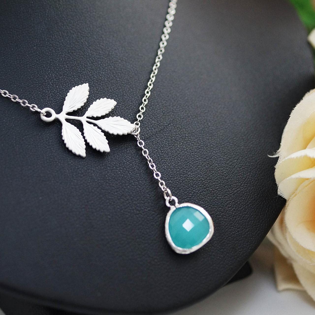Leaf branch and mint glass lariat necklace , bridesmaid gift, wedding jewelry, bridesmaid necklace, christmas gift for her