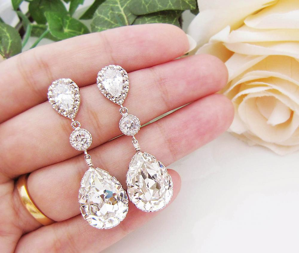 jewelry crystaluxe silver swarovski sterling crystals crystal earrings hoop white in with