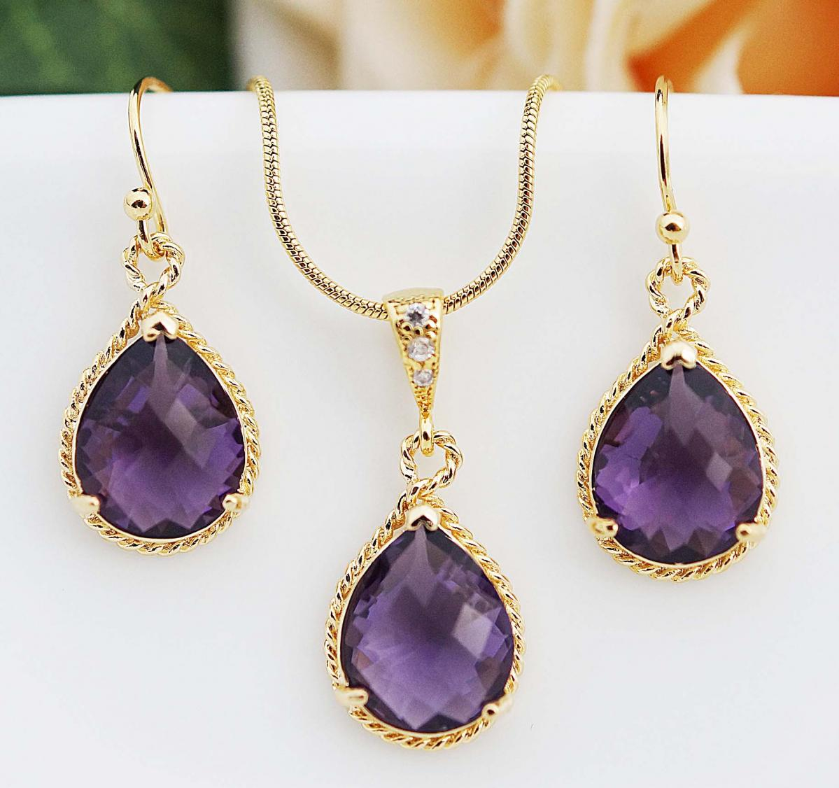 Wedding Jewelry Bridesmaid Jewelry Bridesmaid Earrings Bridesmaid Necklace Amethyst Glass Gold Trimmed Pear Cut Bridesmaid gift