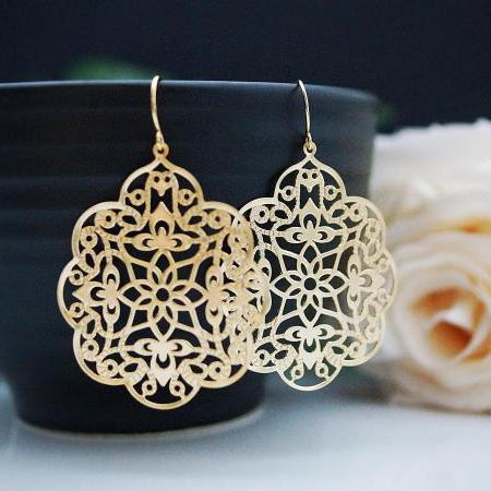 Jewelry Dangle Earrings Matte gold plated Oriental charm Earrings . For Her. Gift for Her . Gift Under 20 Gifts