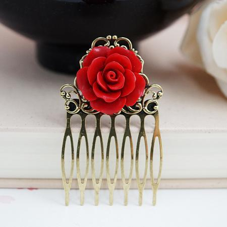 Wedding hair accessories Bridesmaids Gift Wedding Hair Comb Red Rose Bridal Hair Comb Christmas gift for her Bridal Hair accessories
