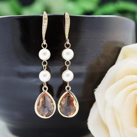 Wedding Jewelry Bridesmaids Gift Bridal Earrings Bridesmaid Earrings Dangle Earrings Swarovski Pearls with Peach Glass drop Earrings