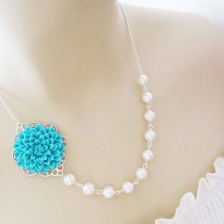 Wedding Jewelry Bridesmaid Jewelry Bridal Necklace Bridesmaid Necklace - Turquoise blue Flower Cabochon and Crystal White Swarovski Pearls