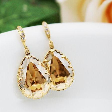 Bridal Earrings Bridesmaid Earrings cubic zirconia ear wires and Golden Shadow Swarovski Crystal Tear drops