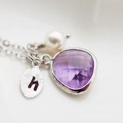 Wedding Jewelry Bridesmaid Jewelry Bridesmaid Necklace Personalized Initial necklace - Dark Lilac glass drop and leaf with swarovski pearl