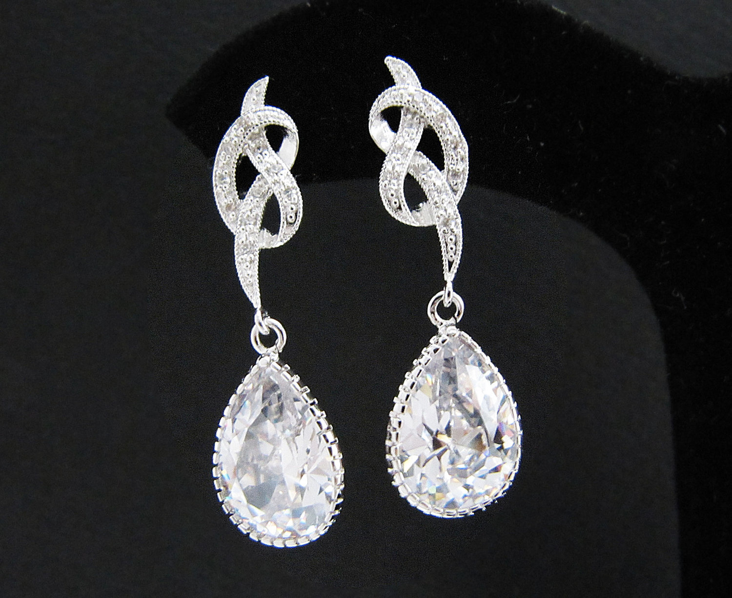 b501035e0 Bridal Earrings Matte Rodium Plated Jewel Knot Cubic Zirconia Ear Posts  With Clear White Large Cubic on Luulla
