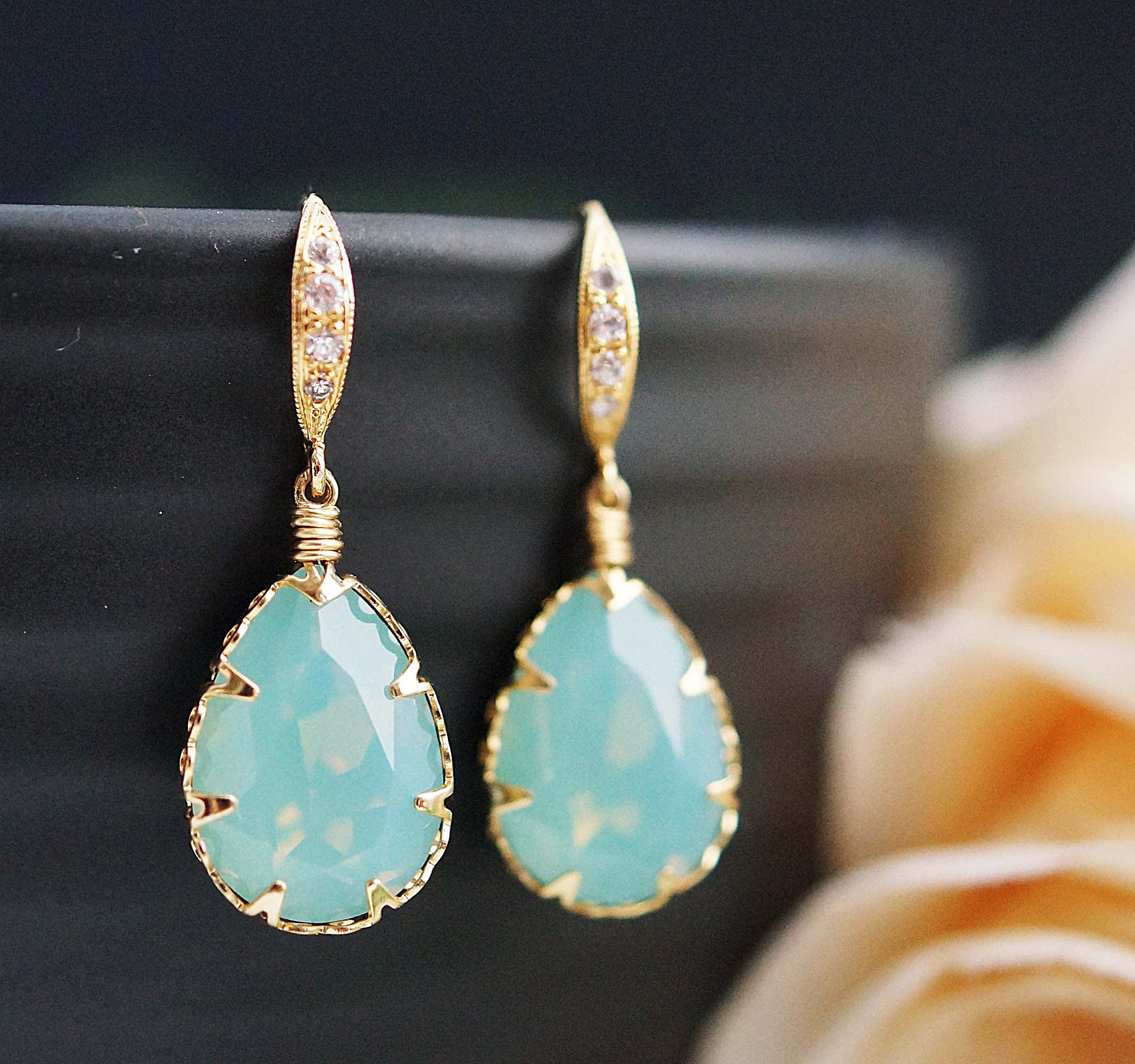 2dd50461bc9bc Wedding Bridal Earrings Bridesmaid Earrings Mint Pacific Opal Swarovski  Crystal Drop Dangle Earrings